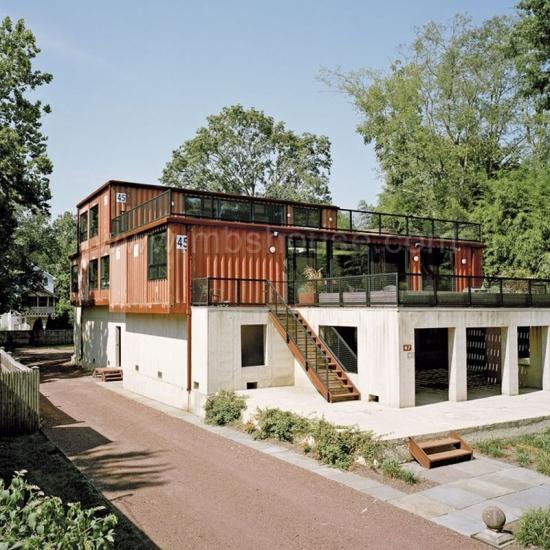 20ft Modular Pasang Siap Perkapalan Rumah Bekas Villa Mewah Pembekal
